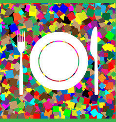 Fork knife and plate sign white icon on vector