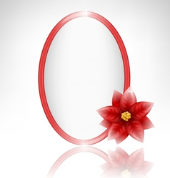 Frame with poinsettia and reflection on grayscale vector