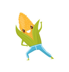funny corncob doing sports sportive vegetable vector image