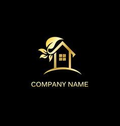 gold house leaf logo vector image