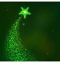 Green star way Christmas tree vector