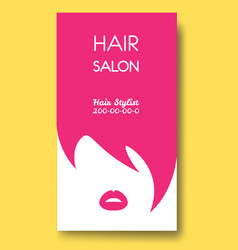 Hair salon business card templates with pink hair vector