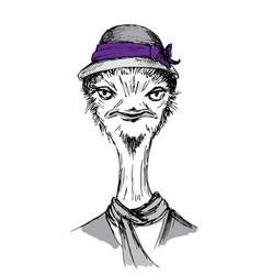 Hand drawn fashion portrait ostrich hipster vector