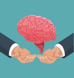 Hand holding human brain organ vector