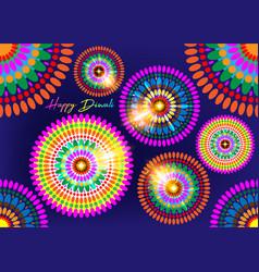 happy diwali colorful lamps festival celebration vector image