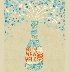 happy new year 2020 exploding champagne bottle vector image