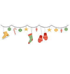 holiday hanging decorations christmas garlands vector image