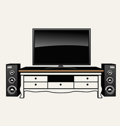 Huge flat tv and audio system vector