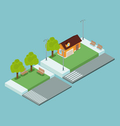 isometric town 3d vector image