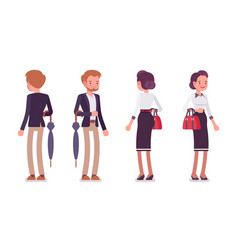 lady and gentleman standing rear and front view vector image