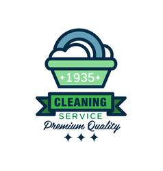 Linear logo for cleaning agency plastic basin vector