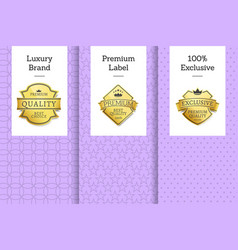 luxury brand premium label exclusive set posters vector image