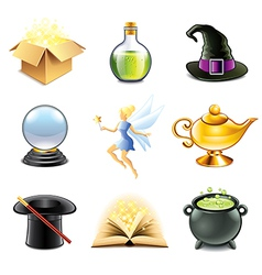 Magic and sorcery icons vector