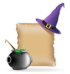Magic hat and boiling cauldron vector image