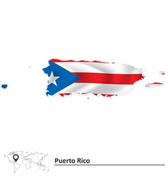 Map of Puerto Rico with flag vector image