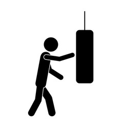 Monochrome pictogram with man knocking punching vector