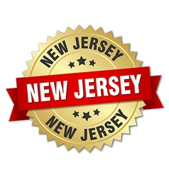 New Jersey round golden badge with red ribbon vector image