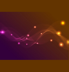 Orange purple glowing waves background vector