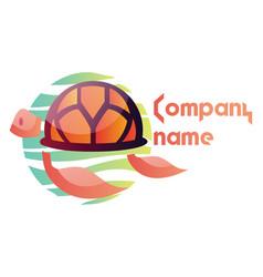 orange turtle logo design on a white background vector image