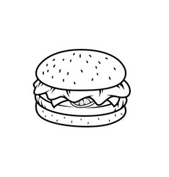 outline burger image vector image