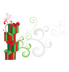 Piramide of gift boxes red and green with vector