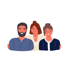 portrait adult daughter and aged parents vector image