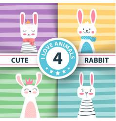 rabbit characters cute winter vector image