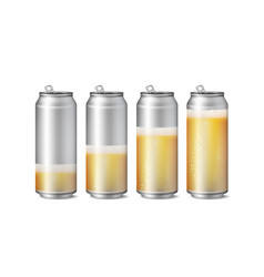 Realistic beer cans mockup beer background vector