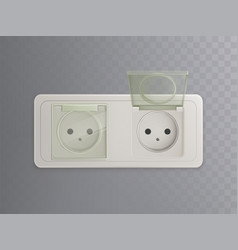 realistic power socket with plastic caps vector image