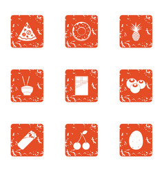 relaxed life icons set grunge style vector image