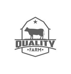 Retro vintage cattle angus beef emblem label vector