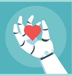 Robot arm hold heart vector