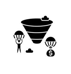 sales funnel black icon sign on isolated vector image