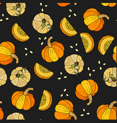 Seamless autumn pattern with pumpkins vector