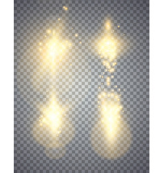 set of golden glowing lights effects vector image