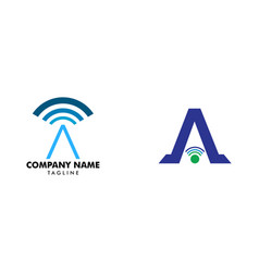 set of initial letter a signal logo design vector image