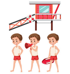 Set of lifeguard on white background vector