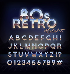 shiny 80s retro alphabet futuristic english font vector image