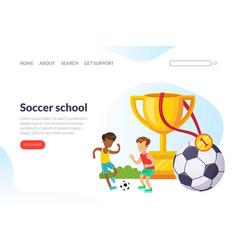 Soccer school landing page template school vector