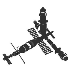 Spaceship shuttle space station vector
