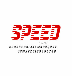 Speed style modern font alphabet letters and vector