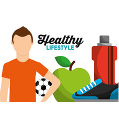 sport man with soccer ball apple bottle water vector image