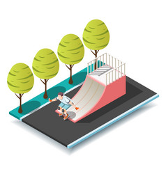 Sports ramp for roller and skateboarders vector