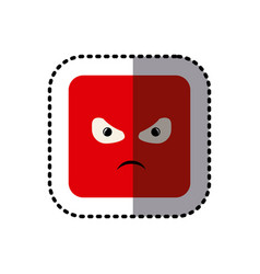 sticker square colorful shape emoticon angry vector image