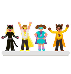 super hero kids teens characters set flat design vector image