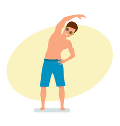surfer standing in shorts does exercises with vector image