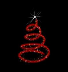 swirly christmas tree isolated icon vector image