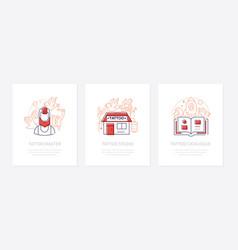 tattoo studio - line design style banners vector image