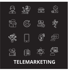 telemarketing editable line icons set on vector image