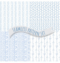 Tender blue seamless pattern collection vector